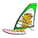 Ilustração tirada do vetor dos desenhos animados do windsurfe do brinquedo do leão mão bonito ilustração royalty free
