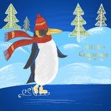 """A ilustração tirada giz colorida com pinguim de patinagem em um chapéu com lenço, """"Feliz Natal"""" text, montes de neve e árvore de  Fotografia de Stock"""