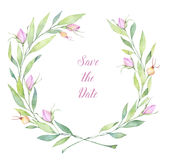 Ilustração tirada mão da aguarela Grinalda com flores perfeito ilustração do vetor