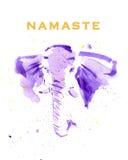 Ilustração tirada mão da aquarela de elefantes coloridos Foto de Stock