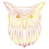 Ilustração tirada mão da coruja do esboço da garatuja Decorativo no projeto asteca tribal étnico do totem indiano africano Imagem de Stock Royalty Free