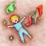 Ilustração tirada mão da criança do grito, gritar e ser forçada que encontra-se no assoalho ilustração royalty free