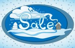 Ilustração tirada mão da etiqueta da venda do inverno do vetor Ilustração do Vetor