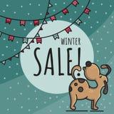 Ilustração tirada mão da garatuja da venda do inverno com cão ilustração stock