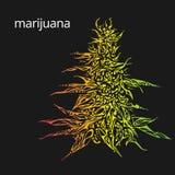 Ilustração tirada mão da marijuana Imagem de Stock