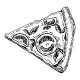 Ilustração tirada mão da parte de pizza imagem de stock