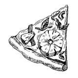 Ilustração tirada mão da parte de pizza imagens de stock royalty free