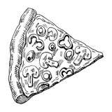 Ilustração tirada mão da parte de pizza foto de stock