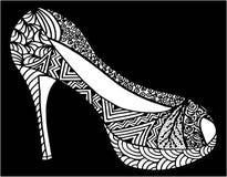 Ilustração tirada mão da sapata do salto alto Foto de Stock