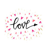 Ilustração tirada mão do amor com mão-rotulação Elementos desenhados mão do projeto Pode ser usado como um cartão para o dia o do Fotos de Stock Royalty Free