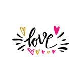 Ilustração tirada mão do amor com mão-rotulação Elementos desenhados mão do projeto Pode ser usado como um cartão para o dia o do Imagens de Stock