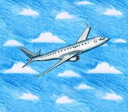 Ilustração tirada mão do avião cinzento em voo e do céu com ilustração do vetor