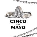 Ilustração tirada mão do chapéu do sombreiro e do texto de Cinco De Mayo no fundo branco ilustração stock