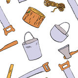 Ilustração tirada mão do equipamento do campo ilustração stock