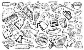 Ilustração tirada mão do esboço do esboço do vetor com alimento, sanduíches, bebidas do álcool e do café, sobremesas e garrafas ilustração do vetor