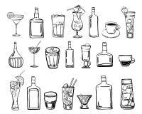 Ilustração tirada mão do esboço do esboço do vetor com grupo de cocktail, de bebidas do café e de garrafas do álcool ilustração stock