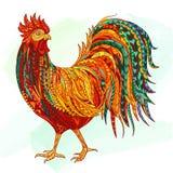 Ilustração tirada mão do galo do esboço da garatuja Decorativo no estilo do zentangle Foto de Stock Royalty Free