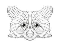Ilustração tirada mão do guaxinim do esboço da garatuja Decorativo no projeto asteca tribal étnico do totem indiano africano Fotografia de Stock Royalty Free