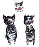 Ilustração tirada mão do marcador de um grupo do porco do personagem de banda desenhada isolado nas cores preto e branco e cor-de ilustração do vetor