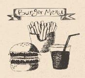 Ilustração tirada mão do menu do hamburguer ilustração stock