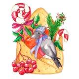 Ilustração tirada mão do Natal da aquarela ilustração do vetor