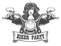 Ilustração tirada mão do partido do motociclista ilustração royalty free