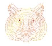 Ilustração tirada mão do tigre do esboço da garatuja Decorativo no projeto asteca tribal étnico do totem indiano africano Foto de Stock Royalty Free