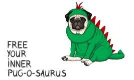 Ilustração tirada mão do vetor do cão do pug vestida acima no traje do dinossauro com texto para livrar seu saurus interno do pug fotos de stock royalty free