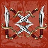 Ilustração tirada mão do vetor com machetes cruzados ilustração royalty free