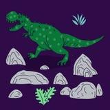 Ilustração tirada mão do vetor com o dinossauro bonito da garatuja dos desenhos animados Fotos de Stock