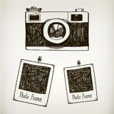 Ilustração tirada mão do vetor com vintage retro Imagem de Stock