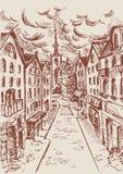 Ilustração tirada mão do vetor da cidade Esboço da rua, cidade velha, ci ilustração stock