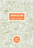 Ilustração tirada mão do vetor da ilustração europeia da garatuja do alimento no fundo branco ilustração stock