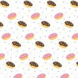A ilustração tirada mão do vetor da geada do chocolate da filhós e da crosta de gelo cor-de-rosa com suado colorido polvilha o te Imagem de Stock