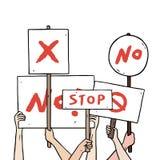 Ilustração tirada mão do vetor da mão do protestador que guarda o grupo da placa do sinal do protesto Proteste o quadro do sinal  Imagens de Stock