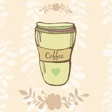 Ilustração tirada mão do vetor do copo de Coffe com Fotografia de Stock Royalty Free