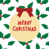 A ilustração tirada mão do vetor do Feliz Natal que rotula com baga do azevinho sae do fundo do teste padrão Imagem de Stock Royalty Free