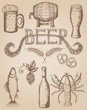 Ilustração tirada mão do vetor, grupo da cerveja Imagem de Stock Royalty Free