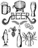 Ilustração tirada mão do vetor, grupo da cerveja Imagens de Stock Royalty Free