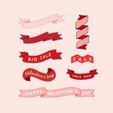 Ilustração tirada mão do vetor do grupo da fita do dia do ` s do Valentim Foto de Stock Royalty Free