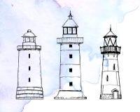 Ilustração tirada mão do vetor - grupo de faróis Styl do esboço ilustração royalty free