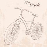 Ilustração tirada mão do vintage do vetor da bicicleta Foto de Stock Royalty Free