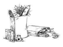 Ilustração tirada mão - sacos de papel com alimento esboço Vetor ilustração do vetor