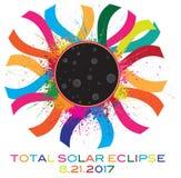 Ilustração total do vetor de Corona Text Color do eclipse 2017 solar Imagens de Stock Royalty Free