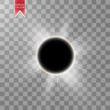 Ilustração total do vetor do eclipse solar no fundo transparente Eclipse do sol da sombra da Lua cheia com vetor da corona Fotografia de Stock Royalty Free