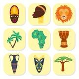 Ilustração tradicional africana da cultura do curso do safari tribal e antigo da selva dos ícones do vetor de África ilustração do vetor