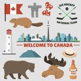 Ilustração tradicional do vetor do símbolo nacional do projeto do turismo do país dos objetos de Canadá do curso Fotografia de Stock