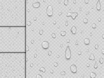 Ilustração transparente líquida do fundo do respingo do pingo de chuva das gotas realísticas da água do vetor ilustração do vetor