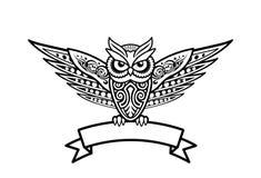 Ilustração tribal do vetor da coruja do estilo Fotografia de Stock