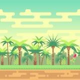 Ilustração tropical do vetor da paisagem da natureza da floresta do verão sem emenda para jogos de computador Foto de Stock Royalty Free